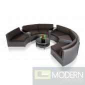 Renava Shore - Rounded Sectional with Built-in Ledge, and Coffee Table Patio Set