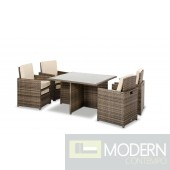 Renava Barcelona - Square Compact Table, 4 Fold-out Chairs, and 4 Individual Ottoman Patio Set