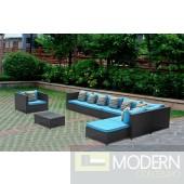 Garden 7-Piece Outdoor Rattan, Espresso with Blue Cushions