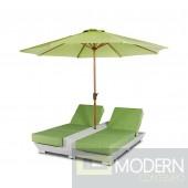 Renava Gemini - Two Lounge Chair Built-in Base and Umbrella Patio Set