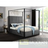 Tower King Grey Velvet Upholstered Canopy Bed LOCAL DMV DEALS