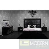 A&X Glam Modern Black Crocodile Bed