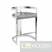 Claudia Counter Chair Grey Velvet w/ steel base