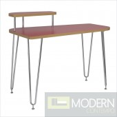 Hanh Desk w/ Left Shelf in Red