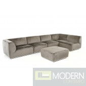 Hawthorn Modern Grey Fabric Sectional Sofa and Ottoman
