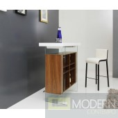 Woodbury Contemporary White & Walnut Bar table