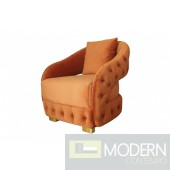 Arancia Chestefield Modern Tufted Orange Velvet chair