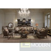 Traditional European Design Formal Living Room Sofa Set w/ Carved Wood Accents