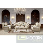 Traditional European Design Formal Living Room Sofa Set w/ Carved Wood Accents MCHD32