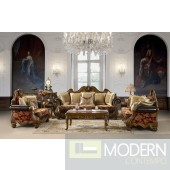 Luxury Formal Living Room Furniture Chenille Fabric w/ Carved Wood MCHD481