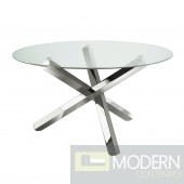 Kadu Hand Polised Stainless Steel  Base Round  Dining table