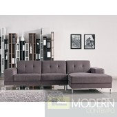 L Shape Gray Fabric Sectional Sofa