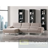 Beige L Shape Fabric Sectional Sofa
