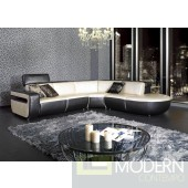 Black and Beige Shiny Leather Sectional Sofa