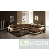 Contemporary Brown and Beige Leather Sectional Sofa