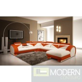 Modern White and Orange Leather Sectional Sofa with Headrests