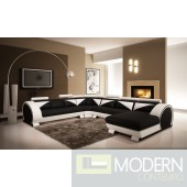 Modern White and Black Leather Sectional Sofa with Headrests