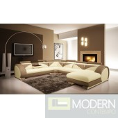 Modern Beige and Light Brown Leather Sectional Sofa with Headrests
