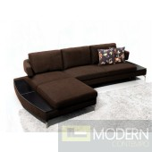 1077 - Brown Fabric Sectional Sofa
