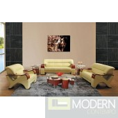 Divani Casa 2034 Contemporary Beige Leather Sofa Set