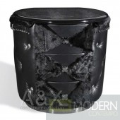 A&X Palace - Black Ermine Leather Nightstand