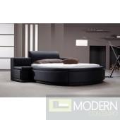 Modrest Owen - Black Leather Round Bed with Storage