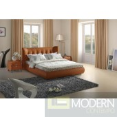 Modrest Contemporary Orange Tufted Leatherette Bed