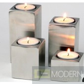Square Satin Aluminium Finish Candleholder  Set of 4