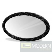A&X Palace - Black Fabric Oval Mirror