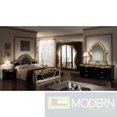 Modrest Rococo - Italian Classic Black and Gold Bedroom Set