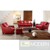 Divani Casa Full Leather Bremen Red Sofa Set