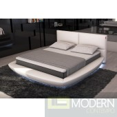Modrest Sferico - Modern Eco-Leather Platform Bed with LED Lights