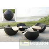 Renava Ovum - Modern Brown 5-Piece Egg Shaped Patio Set