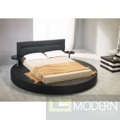 Modrest Palazzo Black Leatherette Round Platform Bed