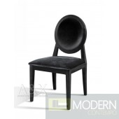 A&X Alora - Transitional Black Laquer Fabric Side Chair - Set of 2