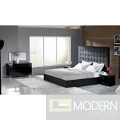 Modrest Lyrica Black Leatherette Tall Headboard Bed
