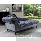 Divani Casa Metropolitan - Transitional Fabric Chaise with Tufted Acrylic Crystals