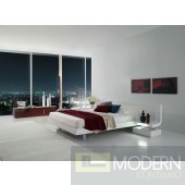 Modrest Firenze White Lacquer Platform Bed with Built-In Nightstands & LED Lights