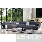 Divani Casa Polaris - Contemporary Gray Bonded Leather Sectional Sofa with Lights