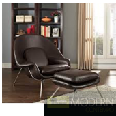Brown leather W Lounge Chair & ottoman