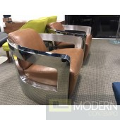 Brown Leather Aviator Stainless Steel Lounge Chair