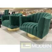 Hera EMERALD GREEN velvet swivel accent chair gold base LOCAL DMV DEALS