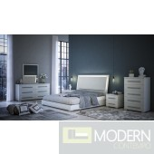 Berlina White 5-Piece  Bedroom Set  with Led Light Made in Italy