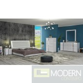 Urex  White 5-Piece Bedroom Set  with Led Light Made in Italy