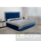 BULU BLUE  High Density Velevt platform bed with tall headboard, Led light and USB port