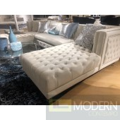 3Pc Bellissimo Ivory velvet Sectional sofa