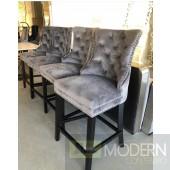 Set of 2 Grey velvet Nikita Counter Bar stools