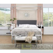 Regalia White Chrome Queen Upholstered Canopy Metal Acrylic Bed