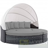 Summons Grey Wicker Rattan round Daybed with canopy grey sunbrella