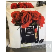 CHANEL RED ROSES THROW PILLOW